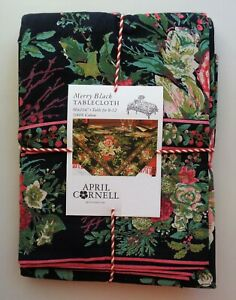 April Cornell MERRY Black Red Green Floral Holiday 60 x 104 Tablecloth Cotton