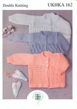 Double Knitting DK Pattern for Baby Long Sleeved Lacy Panel Cardigans UKHKA 162