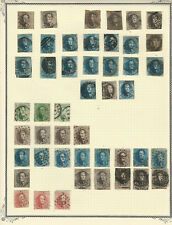 Belgium, 105 Classic Stamps Used on 2 Scott Pages, Cancels, Shades & Varieties