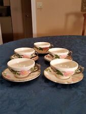 """8 FRANCISCAN DESERT ROSE 2-1/4"""" FLAT CUPS AND 5 SAUCERS USA-MINT"""