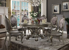 "Traditional Platinum Finish 7pcs Dining Room Set w/ 60"" Round Table Chairs IAN6"