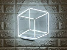 """New Cubic White Neon Light Sign 14"""" Lamp Beer Pub Acrylic Real Glass Gift"""