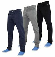 Crosshatch Mens Denim Jeans Straight Fit Regular Pants Trousers All Waist Sizes