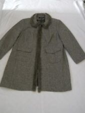 Signature by Larry Levine Brown Cream Wool Blend Tweed Coat Size 22W Back Vent