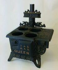 Vintage Miniature Queen Cast Iron Toy Wood Stove, Salesman Sample