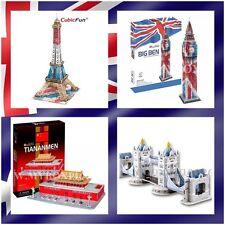 4 x Mixed Designs Eiffel Tower Big Ben Tower Bridge FREE TIANANMEN DIY 3D Puzzle