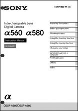 Sony DSLR Alpha A560 A580  Digital Camera User Guide Instruction  Manual