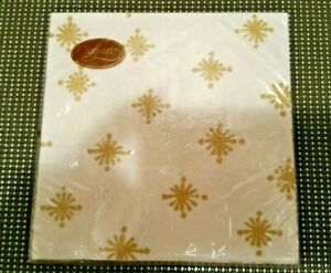 Caspari Magie Gray Starry Ivory 20 Triple-Ply Dinner Napkins White and Gold