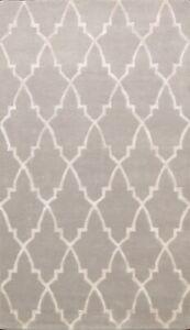 Modern Trellis Wool/ Silk Indian Area Rug Hand-tufted Geometric Foyer Carpet 5x8