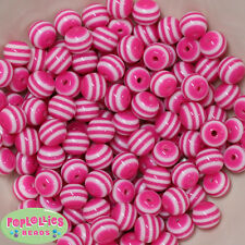 12mm Hot Pink and White Stripe Resin Bubblegum Beads Lot 40 pc.chunky gumball