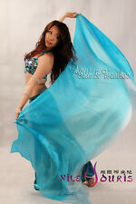 """2.7m*1.1m (9'x45"""") turquoise fading floating 5mm belly dance silk veil+carry bag"""