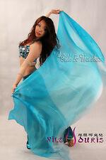 turquoise fading 3yd belly dance silk veil+bag,light 5mm paj silk, edges rolled