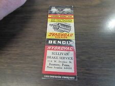 DUNMORE PA - SULLIVAN BRAKE - BENDIX HYDROVAC  - MATCHBOOK COVER