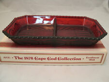 "Avon CAPE COD 1876 Ruby Red Collection 2 Part Relish 9+"" Condiment Dish Tray NEW"
