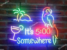 19 X15 New It's 5:00 5 Five o'clock Somewhere Parrot Neon Sign Beer Bar Light