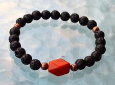 8mm Black Basalt Lava Stone Red Jasper Wrist Mala Bracelet - Vivid dream Recall