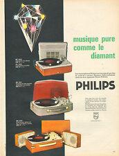 Publicité 1965 PHILIPS électrophones équipés d'une tete pick-up à pointe diamant