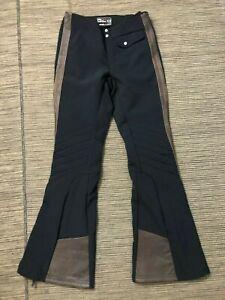 Ralph Lauren RLX Adult Womens XS Ski Pants Black Kick Patch Leather