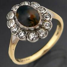 English Vintage AGATE & WHITE GEM HALO 9k GOLD & SILVER Cluster RING solid  Sz M