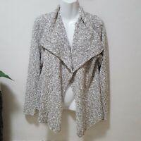 Eileen Fisher Womens Cardigan Sweater Open Front Knit Lagenlook Beige Large