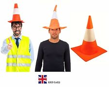 ADULT TRAFFIC CONE HAT Stag Night Mens Ladies Fancy Dress Road Safety Orange UK