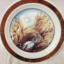 "THUN CZECHOSLOVAKIA CARLSBAD BIRD'S NEST FEATHER PLATE 7 1/2"" GOLD BAND"
