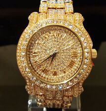 Men Techno Pave Hip Hop Bling Crystal 18K Gold Watches Made In Italy