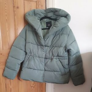 RIVER ISLAND ladies Shawl Collar Sage Green Padded Jacket - Size 14 bnwt