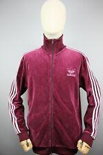 Adidas Originals style 90's burgundy velvet Mens Tracksuit Top Jacket Size M