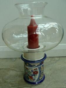 Beautiful Japanese Blue Imari Candle Holder Set with Glass Globe Shade & Candle