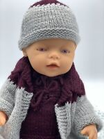 Vintage Pink Eye Zapf Creations Baby Born Doll, Grey Knitted Outfit, 46cm 18' #2