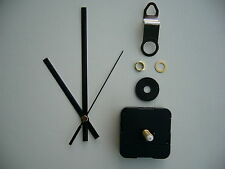 CLOCK MECHANISM QUARTZ EXTRA LONG SWEEP SPINDLE. 130mm BLACK BATON HANDS