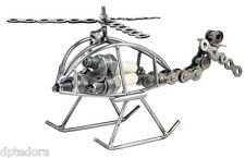 Hand Crafted Recycled Metal Spark Plug Helicopter Lg  Art Sculpture Figurine