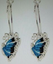 SILVER HOOP EARRINGS WITH A BUTTERFLY CHARM BLUE ENAMEL/ WHITE TOPAZ  1 1/2 INCH