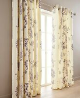 Thea Floral Lined Ring Top Floral Curtains Range (Pair): Choice Of Three Colour