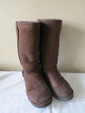 LL Bean Womens Tall Brown Chocolate Sheepskin Suede Boots Size 10 EUC!
