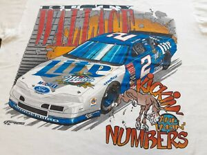 VTG 90s NASCAR #2 Rusty Wallace Miller Lite Racing Double Sided T Shirt X-Large