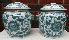 """PAIR OF DECORATIVE GREEN & WHITE LIDDED GINGER JARS, HANDPAINTED 8.25"""" Tall"""