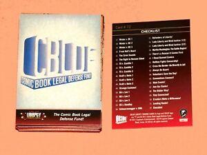 2011 COMIC BOOK LEGAL DEFENSE FUND CBLDF LIBERTY TRADING CARD 72 BASE SET!