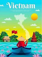 Vietnam Asian Asia Retro Travel Advertisement Art Deco Poster Print
