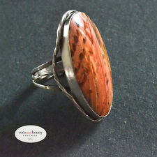 *Vintage BIG BOLD Mid Century Navajo Petrified Wood & Silver Ring SIZE 7
