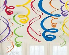 DARK MULTI-COLORED HANGING SWIRL DECORATIONS (12) ~ Birthday Party Supplies