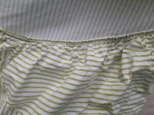 Ralph Lauren Green Stripe Queen Fitted Sheet 100% Cotton DEEP Pockets-Newer