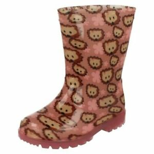 Infant Girls Clarks Wellington Boots With Lights - Shiny Irene