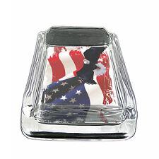 "American Flag D16 Glass Square Ashtray 4"" x 3"" Smoking Cigarette"