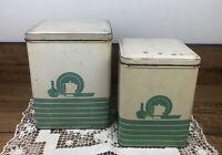 Vintage Tin Kitchen Canister Set 1950's 2 piece set