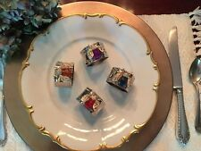 Napkin Rings Handcrafted Vintage Bee/Insect Rhinestone Crystals Set of 4