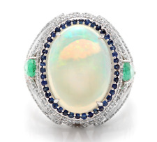 8.00Ct Natural Opal Sapphire Emerald & Diamond 14K Solid White Gold Ring