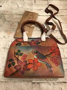 FAB! Anuschka Hand Painted Exotic Bird & Flowers Leather Crossbody Handbag