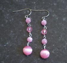 Pink cat's eye dangly earrings